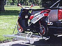 motorcycle rack with scooter loaded
